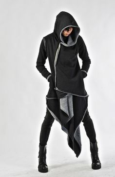 Layered Front Asymmetric Hood Zip Up Jacket