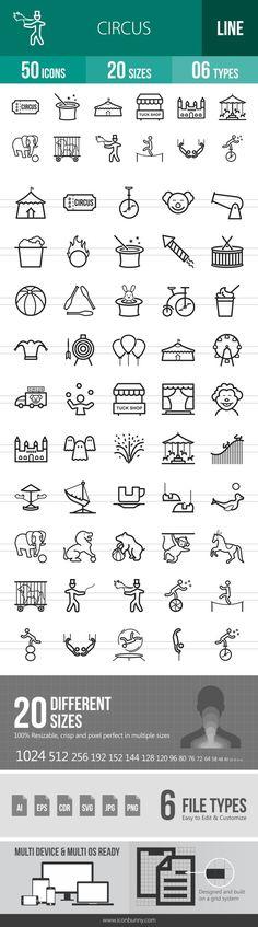 50 Circus Line Icons
