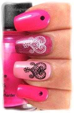Nail Art by Belegwen #nail #nails #nailart - dark pink fingernail polish with heart design
