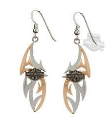 Silver Harley Davidson dangle earrings Harley Davidson Pinterest