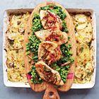 Een heerlijk recept: Jamie Oliver: kipfilet met gesmoorde groenten en aardappelgratin