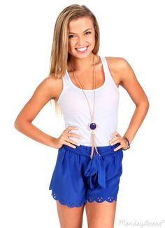 Roll With Me Royal Blue Scalloped Shorts Preppy Fashion, Preppy Outfits, Preppy Style, Style Me, Cute Outfits, Fashion Outfits, Womens Fashion, Classy Lady, Classy Women