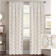 Better Homes and Gardens Metallic Trellis Gold Foil Curtain Panel