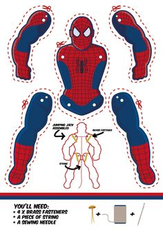 Free Spiderman jumping jack puppet. Tons of other superhero puppets on this site too.