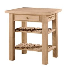Whitewood wc-3624 Kitchen Island    Gorgeous Island!    Solid Wood    Ships Ready to Assemble    36x24x36″tall    Features 2 adjustable shelves, towel rack and drawer  Price: $269.99