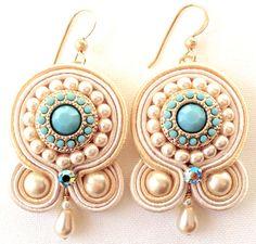 Soutache Earring Embroidered Earring Soutache by PureBlissJewelry Gold Bar Earrings, Sapphire Earrings, White Earrings, Shibori, Fabric Earrings, Sapphire Color, Rare Gemstones, Soutache Jewelry, Minimalist Jewelry