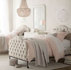 RH baby&child's Francesca Upholstered Bed:Graceful arches and hand-tufting give Francesca its irresistible allure. Inspired by timeless 19th-century furniture, our bed delivers equal parts comfort and beauty, making it an ideal retreat for girls of all ages.