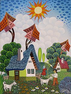 Small Houses by Laszlo Koday - GINA Gallery of International Naive Art