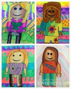 Ha! Love it and so will the monkeys. Math connections on shapes and proportion, space, portrait, format, clothing design, careers, value, shape and form, ...---  Exploring Art: Elementary Art: 5th Grade Lego Self Portraits