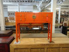 Asian Inspired Console Table in Orange Los Angeles by housecandyla, $599.00