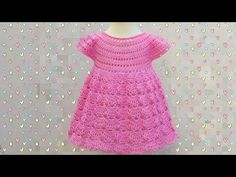 Crochet Fast And Easy Baby Dress - We Love Crochet Crochet Baby Dress Free Pattern, Baby Dress Patterns, Crochet Baby Clothes, Crochet Dresses, Crochet Patterns, Crochet Hats, Mode Crochet, Crochet Girls, Fast Crochet