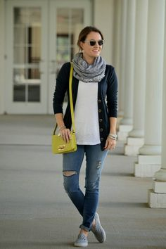 Easy fall layers. Navy blue cardigan, distressed skinny jeans, scarf and sneakers.