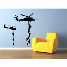 "Military Helicopter troopers rappelling Wall Decal Vinyl Military Sticker 22x22"" Home Decor"