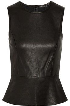 Theory Elleria washed-leather peplum top | NET-A-PORTER