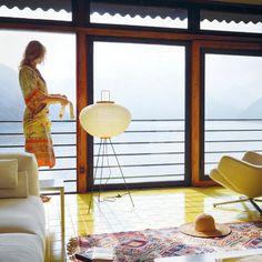 Japanese 10A Shoji Paper Noguchi Floor Lamp w. Washi Akari Lantern Lamp Shade
