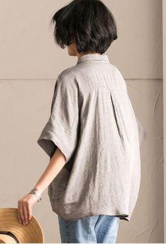 Gray Office Lady Casual Bat Sleeve Linen Women T-shirt Summer Tops C1131A