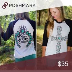 Graphics Baseball loose fit top Squash print with cross comes together in this super cute top loose fit. Boutique finest 50/50 cotton:poly will have our boutique tags attached. Tops Tees - Long Sleeve