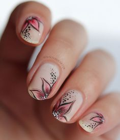 Matte Nail Art Design - Red Flower on Nude Polish