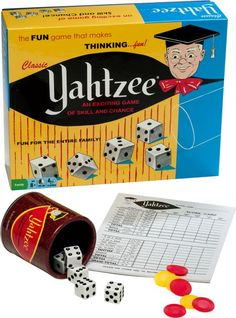 I must've played hundreds upon hundreds of games of Yahtzee, most on rainy days while we were camping. It came in this exact box, too. I think the last time I played Yahtzee was on one of those handheld games. Yahtzee Score Card, Sec Games, The Westing Game, Yahtzee Game, Weekend Cottages, How To Memorize Things, Things To Come, Classic Board Games, Game Google