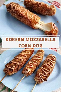 A delicious street food Korean Mozzarella Corn Dog that is coated in batter & breadcrumb, and then deep fried in oil.