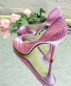 """Bridal Shoes painted Peacock Feather Honeysuckle pink  """"Feathered"""""""