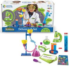 Combine fun and science as you make first discoveries in chemistry, biology and physics playing with this Deluxe Lab Set for beginners!