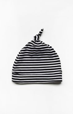 The Knotted New Baby Beanie // Onyx Stripe