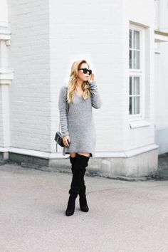 Sweater Dress & Over-The-Knee Boots