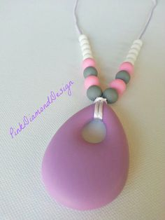 Silicone teething necklace  Lavender gray by pinkdiamonddesign, $26.00 #teething #necklace #lavender