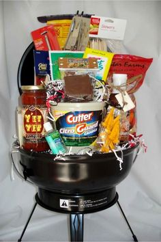 Creative Raffle Basket Ideas for a Charity, School or Fundraising Raffle or Silent Auction March 2020 Camping Gift Baskets, Diy Gift Baskets, Camping Gifts, Basket Gift, Man Basket, Summer Gift Baskets, Creative Gift Baskets, Camping Lunches, Gift Hampers