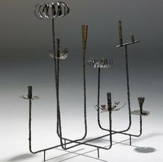 Paul Evans; Welded and Patinated Steel Candle Holder, c1970.