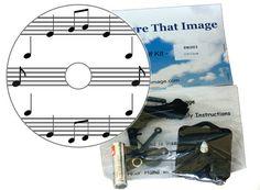 Musical Gift Set - DIY CD Clock KIT in small cotton gift bag with a Musical Motif Music Clock, Music Wall, Kit Co, Cd Diy, Note Sheet, Desk Clock, Small Boxes, Diy Kits, Sheet Music