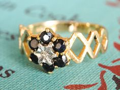 Vintage Diamond & Sapphire Ring Flower Engagement by fineNepic, $150.00