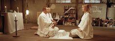 Sonny Chiba as Hatori Hanso and Uma Thurman as Beatrix Kiddo. Kill Bill vol.2