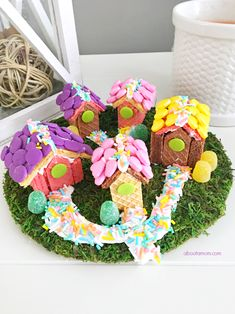 Here's a fun edible food craft to do with the kids. A sweet and whimsical wafer cookie village, inspired by Voortman Wafer cookies. Perfect for your fairy friends! [ad]