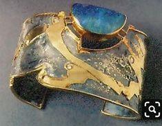 Cheap Diamond silver and gold bracelet with labradorite by American studio artist Marne Ryan; The labradorite looks like opal. Metal Clay Jewelry, Metal Bracelets, Love Bracelets, Opal Jewelry, Silver Bracelets, Jewelry Art, Jewelry Bracelets, Fine Jewelry, Jewelry Design