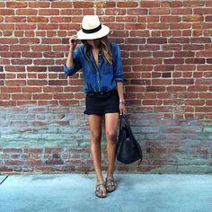 The black shorts, dark blue jean long sleeve and birks.