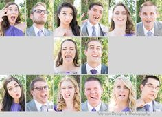 Brady Bunch crazy bridal party silly faces Purple Church wedding with lace and tulle wedding dress