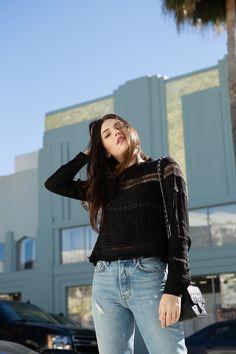 Julia Friedman in a business casual look in Los Angeles, California.