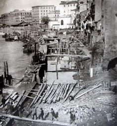Costruzione dei Muraglioni a Roma, c. 1870.