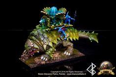 nice tonal transitions Warhammer FB | Lizardmen | Bastiladon #warhammer #ageofsigmar #aos #sigmar #wh #whfb #gw #gamesworkshop #wellofeternity #miniatures #wargaming #hobby #fantasy