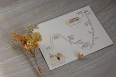 Unas invitaciones de boda con un mapa muy especial.  Mapa de boda con aires románicos y bohemios. Dibujos en acuarela y Lápices. Diseñados por Cristina Maser