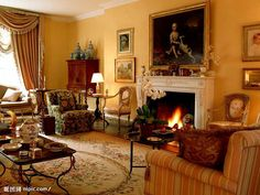 Classic Living Room Design Ideas - Home Trends Decor Living Room With Fireplace, Living Room Paint, Living Room Decor, Dining Room, Living Room Styles, Living Room Designs, Elegant Living Room Wallpaper, Victorian Living Room, Victorian Interiors