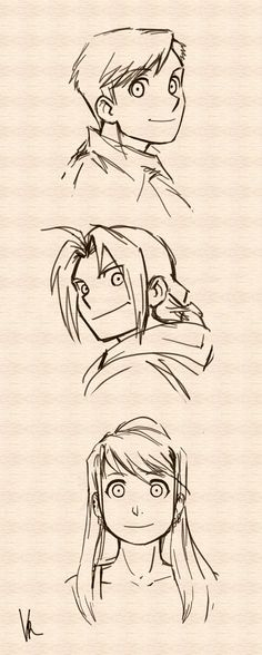 Full Metal Alchemist - Edward, Alphonse, Winry: character sketches, FMA, anime