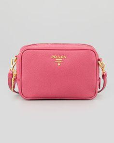 V1NLH Prada Saffiano Mini Zip Crossbody Bag, Pink
