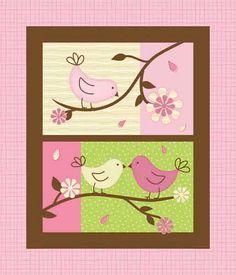 Birdie Baby Flannel Quilt Panel, Bird Fabric, Baby Fabric, Pink Baby Fabric, Pink Birds, 1 panel