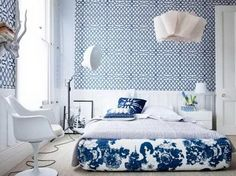 Blue and White Color Scheme in Master Bedroom Design Ideas