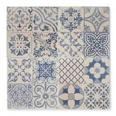 Eclectic and swish, our Tangier Blue tiles are perfect if you're after eye-catching style on a budget. Great value, free samples and speedy deliveries! Tile Patterns, Patterned Bathroom Tiles, Tiles, Patterned Wall Tiles, Patchwork Tiles, Blue Tapestry, Tapestry, Blue Moroccan Tile, Porch Colors