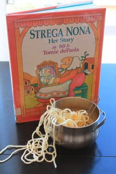 Strega Nona play day/book party. Crafts, food, and fun around the story of Strega Nona