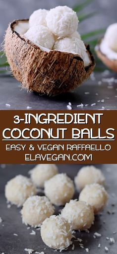 The best coconut candy (truffles) with only 3 simple ingredients. This homemade Raffaello recipe is vegan, gluten-free, healthy, paleo-friendly, and easy to make. My coconut balls will fix all coconut cravings! Desserts Crus, Desserts Sains, Raw Desserts, Vegan Dessert Recipes, Vegan Sweets, Healthy Desserts, Dinner Recipes, Coconut Truffles, Coconut Balls